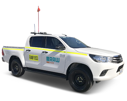 The Raw Hire 4WD Dual Cab Well Body with In-Vehicle Monitoring System available for long term vehicle hire. Mobilised Australia wide.